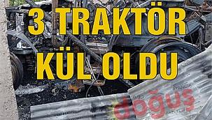 3 traktör, 1 balya makinası ve römork çıkan yangında kül oldu.