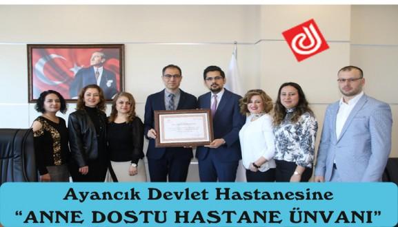 """AYANCIK DEVLET HASTANESİNE """"ANNE DOSTU HASTANE ÜNVANI"""""""