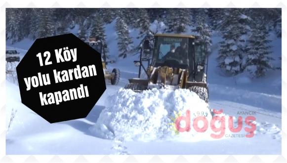 Ayancık'ta kar yağışı nedeniyle ilçe genelinde 12 köy yoluna ulaşım sağlanamıyor.