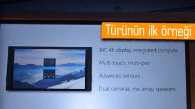 Microsoft bugünkü etkinliğinde türünün ilk örneği olan dev ekranlı Surface Hub'ı duyurdu.