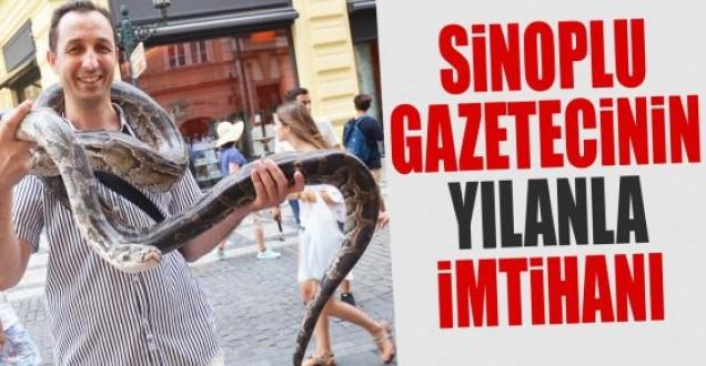 Sinoplu gazetecinin yılanla imtihanı